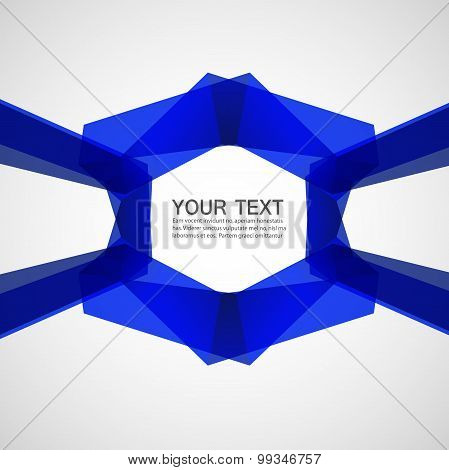 Abstract blue ribbons on a white background