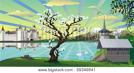 Landscape-castle, A Chapel And A Cherry Tree Over The Lake [