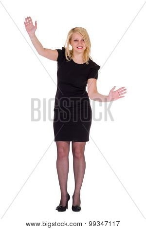 Businesswoman smile hold open palm with empty copy space