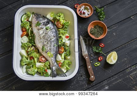 Raw Ingredients - Dorado Fish And Vegetables - Broccoli, Zucchini, Onions, Peppers, Lime And Spices