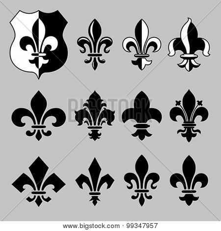 Set of vector heraldic elements.