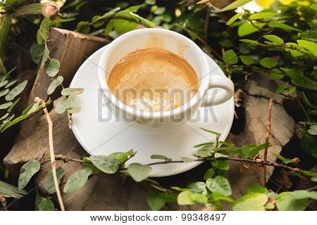 A cup of empty coffee on a wood table