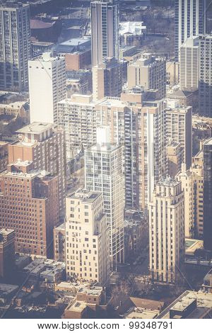 Vintage Chicago Skyline Aerial View
