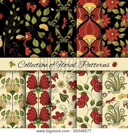 Vector Set Of Seamless Floral Patterns