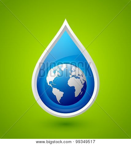 Water Drop And Planet Earth Icon