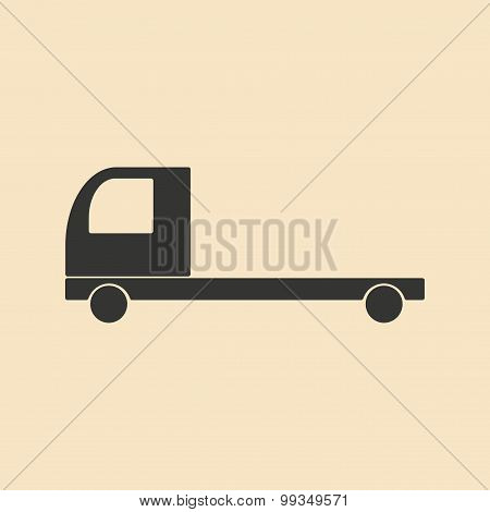 Flat in black and white mobile application lorry