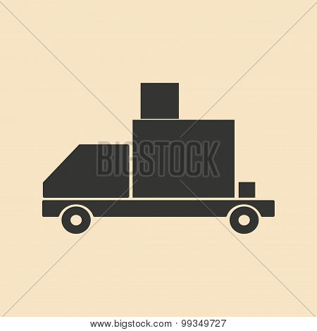 Flat in black and white mobile application shipping large loads