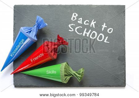 School Cones On A  Chartboard With Message Good Luck