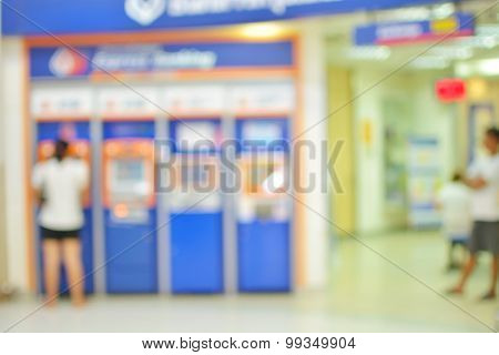 Abstract Blur Background Of Atms Machine