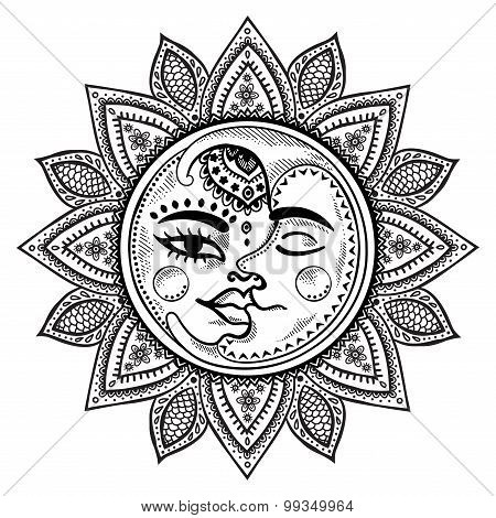 Sun and moon vintage illustration