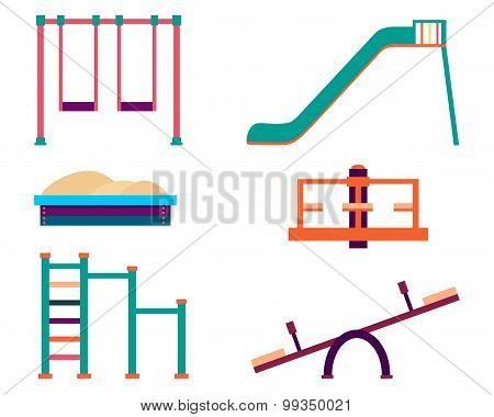Playground icons set. Slide and swing isolated on white background. Vector illustration