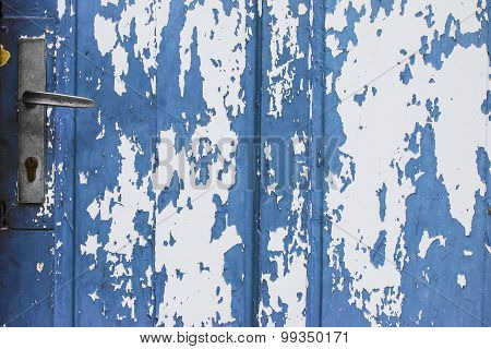 Blue Door With Peeling Paint