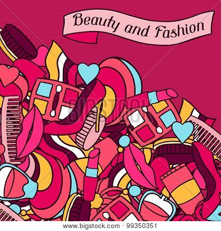 Beauty and fashion background design with cosmetic accessories