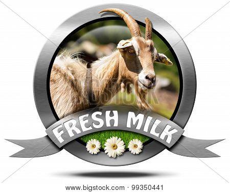 Fresh Milk - Metal Icon With Goat