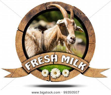 Fresh Milk - Wooden Icon With Goat