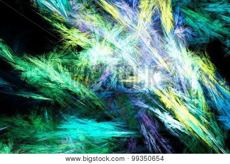 Sheaf of colored sparks. Unusual snow patterns on glass.