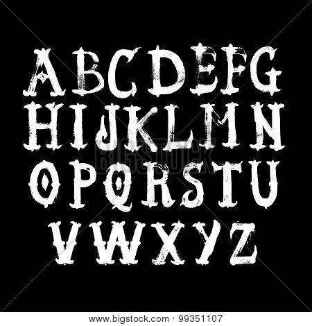 Hand drawn alphabet.
