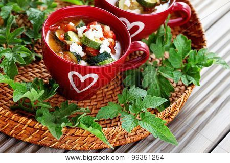 tomato and zucchini soup - food and drink