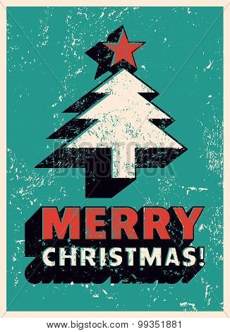 Merry Christmas! Typographic Christmas greeting card design. Grunge vector illustration.
