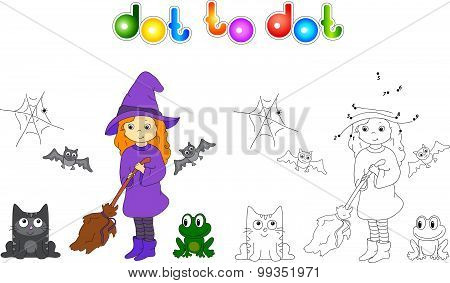 Pretty Friendly Witch With A Broomstick, Bats, Black Cat And Frog. Connect Dots And Get Image. Educa