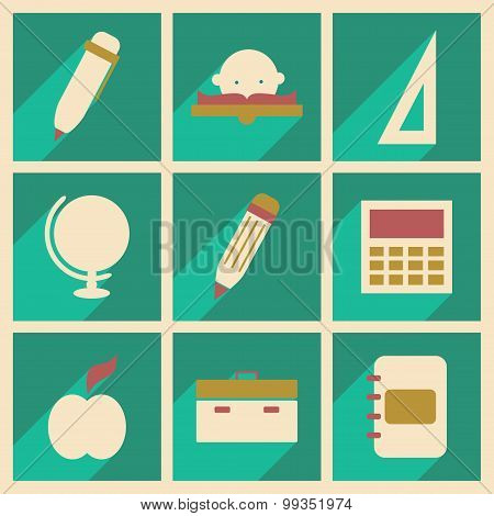 Set of 9 Flat with shadow concept and mobile application School equipment