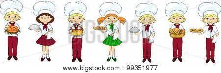 Set Of Cartoon Waiter, Cook And Chef