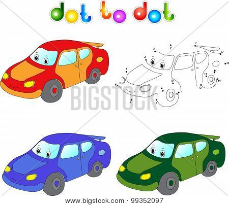Funny Cartoon Car. Connect Dots And Get Image. Educational Game For Kids