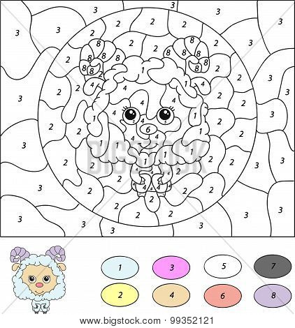 Color By Number Educational Game For Kids. Cute Lamb (ram, Sheep, Mutton). Vector Illustration