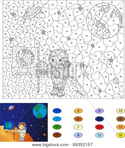Color By Number Educational Game For Kids. Astronaut With A Flag Of The Earth On The Moon. Vector Il