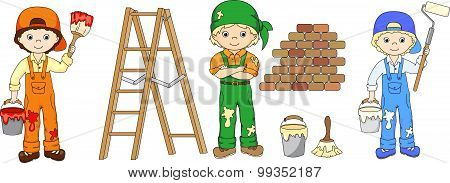 Painters With Their Tools: Brush, Bucket Of Paint And Ladder