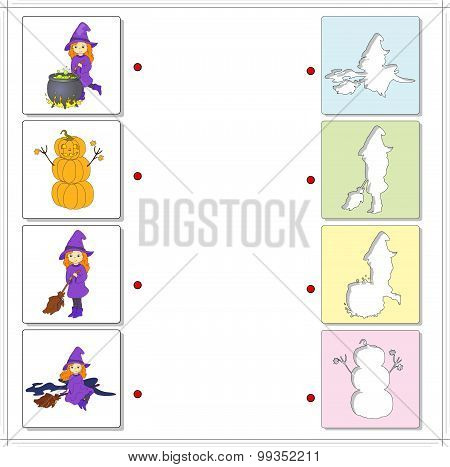 Witch With Cauldron, Witch On A Broomstick And Pumpkin Snowman. Educational Game For Kids
