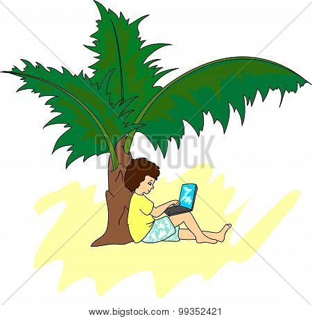 Young Man With A Laptop Sitting On A Tropical Island Under A Palm Tree. Freelancer Working Remotely