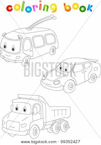 Funny Cartoon Trolleybus, Car And Lorry. Coloring Book For Children