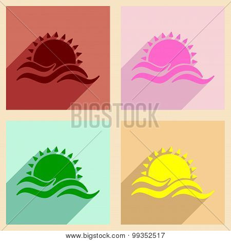 Flat with shadow concept and mobile application sea sunset