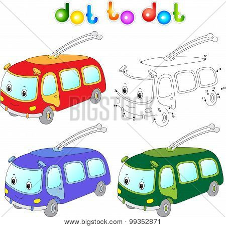 Funny Cartoon Trolleybus. Connect Dots And Get Image. Educational Game For Kids