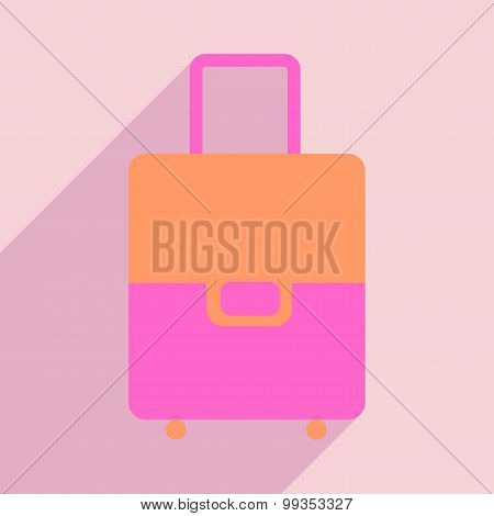 Flat with shadow icon and mobile application Bag with wheels