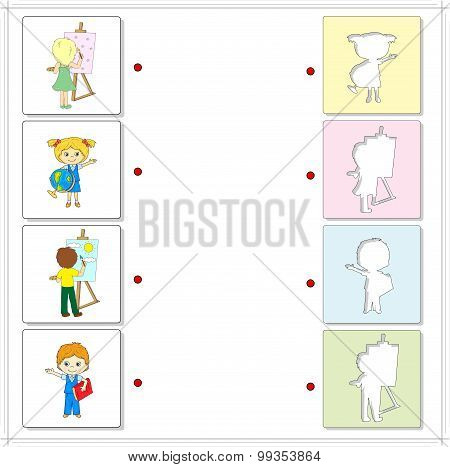 Girl And Boy With Paints, Easel, Globe And Book. Educational Game For Kids