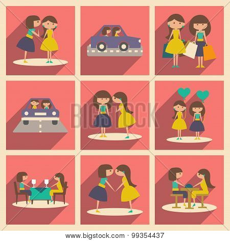 Flat with shadow concept and mobile application female friendship