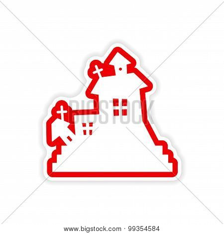icon sticker realistic design on paper haunted house