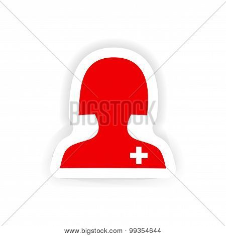 icon sticker realistic design on paper medical worker
