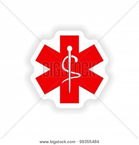 icon sticker realistic design on paper medical emblem