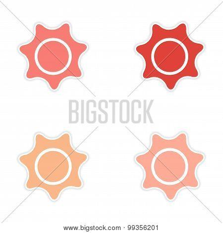 Set of 4 sticker design on paper sun