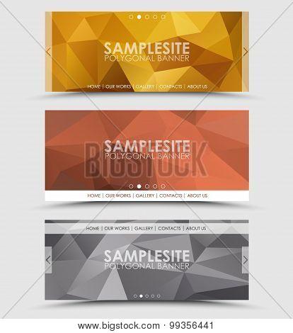 Set Of Geometric Polygonal Header