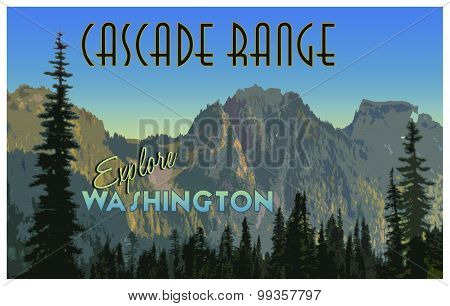 Cascade Range Illustration With Vintage Tourism Poster Effect