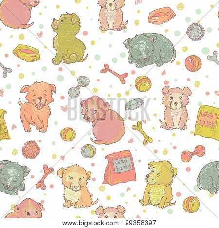 Amusing Playing Puppies Seamless Pattern