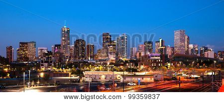 Downtown Urban Metro City Skyline Denver Colorado Sunset Dusk