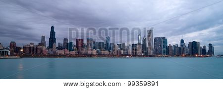 Sunrise Color Sky Lake Michigan Chicago Illinois City Skyline