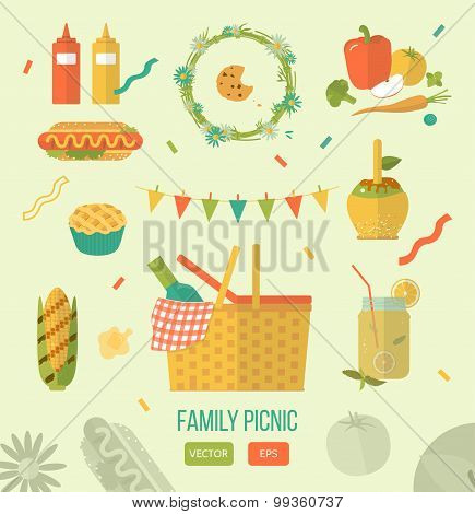 Vector Illustration Family Picnic. Summer, Spring Barbecue And Picnic Icons Set. Flat Style. Snacks,