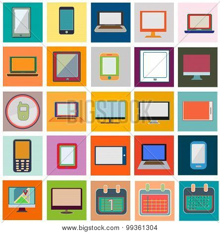 Icons Flat Set With Computer And Calendar