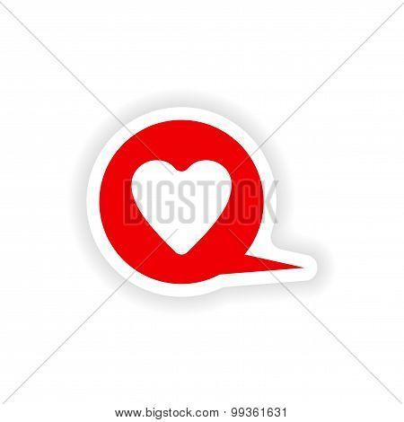 icon sticker realistic design on paper logo heart